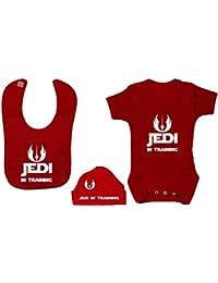 Jedi en el entrenamiento Bodysuit / mameluco del bebé, alimentando el babero y el sombrero / la gorrita tejida 0 a 12 meses