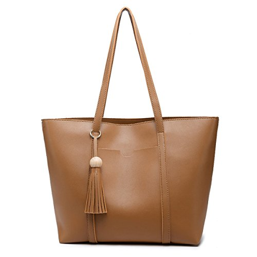 Tote Casuale Con Decorazione In Metallo Per Le Donne Tassel Brown