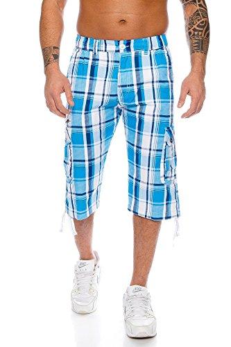 Raff&Taff Herren Bermuda Shorts Kurze Hose Karo Bunt S M L XL XXL MK 310 (M, Blau)
