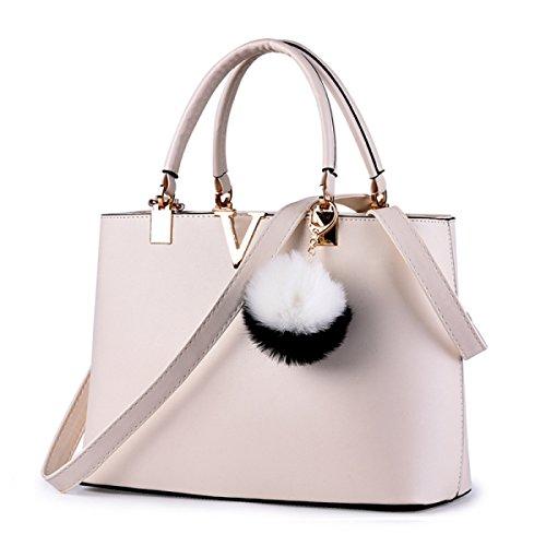 YUEER Frauen Handtaschen Umhängetaschen Einfache Mode Umhängetasche Große Tote Damen Handtasche,LightPink (Quasten Tote Große)