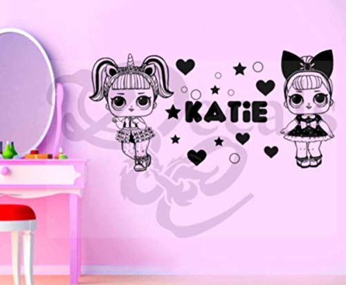 Price comparison product image Personalised Girls LOL Doll Wall Art Sticker - Decor
