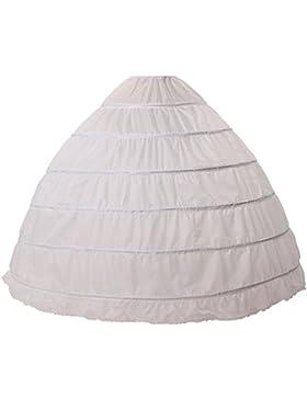 Crinolina Enaguas Mujer Largas para Vestidos de Novia Boda Faldas 6 Aros Hasta el Piso(más colores)