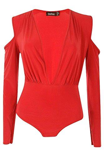 rouge Femme Stacey Slinky Long Sleeve Plunge Cold Shoulder Body Rouge