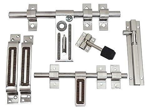 6 Pieces Designer Stainless Steel Chrome Finish Aldrop Latch Door Stopper Bolt Door Kit