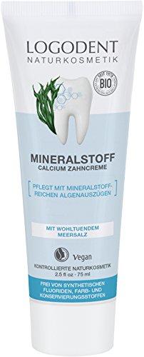LOGODENT Naturkosmetik MINERALSTOFF Calcium Zahncreme, Mild-frischer Geschmack, Frei von synthetischen Fluoridzusätzen, Mit mineralstoffreichen Algenauszügen, Vegan, 3x75ml -