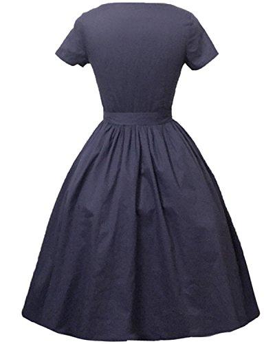ZAFUL Robe Vintage années 50 's Style Audrey Hepburn Rockabilly Swing Robe de Soirée Cocktaile Sexy Robe Floral à Manche Court Robe Rétro Vintage 1950 Bleu Marine