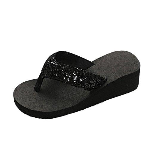 Kolylong® Slippers Frau High Heel Flip Flops Frau Keil Plattform Tangas Hausschuhe (38, Black) (High Keil Plattform Sandalen Heels)