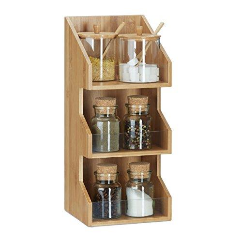 Relaxdays organizer in bambù a 3ripiani, mensole aperte per ufficio, portaspezie per la cucina, misure 41x 18x 17cm, naturale.