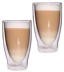 Feelino Aktion: 2X 400ml XXL doppelwandige Latte Macchiato, Eistee und Longdrinkgläser Lattechino Grande, edle extra große Thermogläser mit Schwebeeffekt