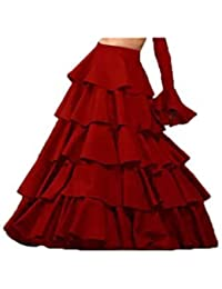 Vaidehi Creation Women's Red Silk Skirts (Lehenga Skirts For Girls) (red)