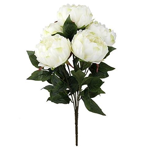 ULTNICE Künstliche Pfingstrose Seidenblume Brautsträuße 5-Kopf Hochzeit Bouquets Party Deko weiß