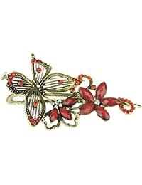 Diseño de mariposas Ladies – Dorado Chunky Metal 11 cm pinza para pelo Clip de brillantes