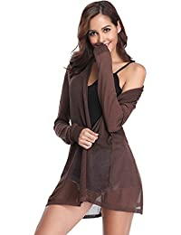 Abollria Veste Longue Femme Gilet Femme Leger Crochet Cardigan Long Femme  Lin Manches Longues été Outwear Femme Sexy élégante Tricot… d553948065dd