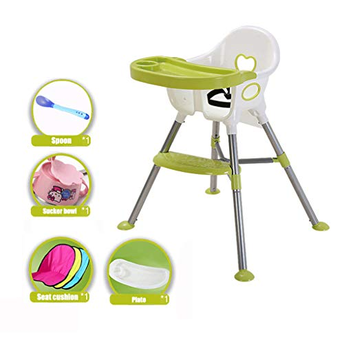 Kinderstuhl, Multi-Sit-Hochstuhl 4in1 Mit Sicherheitsgurt Für Kinder Kid Eat High Stühle, Blau/Rosa/Grün, für Zuhause, für Kinder Von 0-3 Jahren (Farbe : Green) -