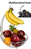 Dongjiang Roselife Banana Holder, Cesto di Frutta D'uva, Cesto di Frutta in Metallo, Cestino Pieghevole, Bananan Stander, Frutta stoccaggio Ciotola d'Argento, Argento, Finitura cromata Silver