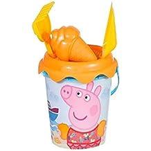 Peppa Pig - Cubo de Playa con Pala, rastrillo y moldes, 18 cm (