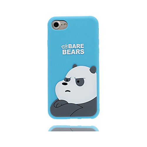 iPhone 6S Custodia, Premium TPU flessibile durevole Apple iPhone 6/6s Copertura 4.7 Case [Slim] + [Peso leggero] (3D Panda Cartoon Cover) Progettato alla moda blu