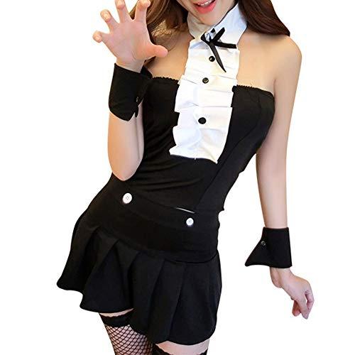 Cat Girl Kostüm - QinMei Zhou Erwachsene reizvolle Wäsche Frauen Cat Girl Suit Sexy Nachthemd Uniform Temptation Pyjamas (Color : Black)
