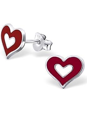 JAYARE Kinder-Ohrstecker Herz 925 Sterling Silber Emaille 8 x 9 mm rot weiß Ohrringe