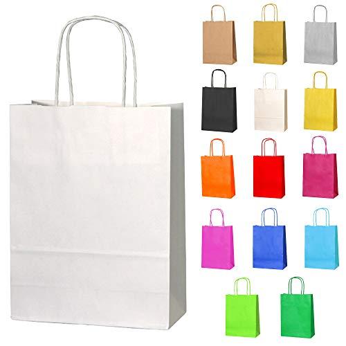 Thepaperbagstore 15 Papiertüten für Partys und Geschenke mit Griffen - Weiß - 180x220x80mm