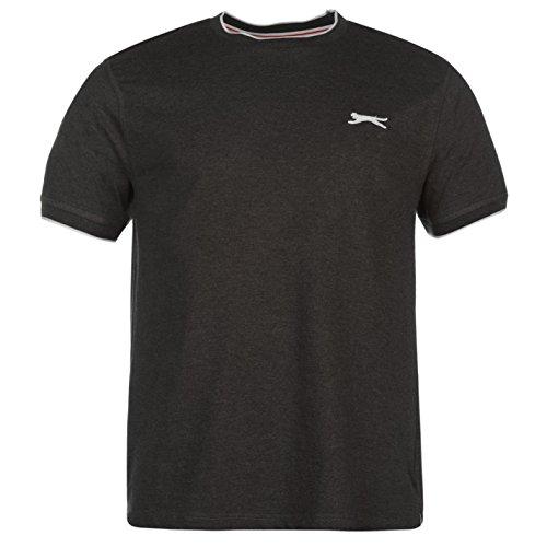 Slazenger Herren Tipped T Shirt Kurzarm Rundhals Tee Top Bekleidung Kleidung Grau1