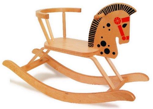 Klassisches Schaukelpferd aus Holz; wunderschönes nostalgisches Design,   Sitzhöhe 28 cm, für Kinder ab 2 Jahren,