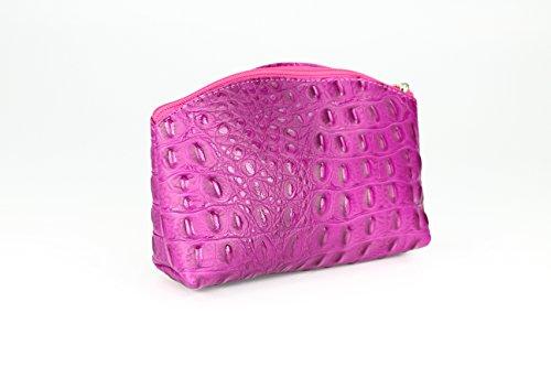 Bellini Bellini Piccola Borsa Da Trucco In Pelle Per Cosmetici - Scelta Del Colore - 18x13x5 Cm (lxhxp) Rosa Croco