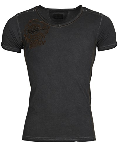 Tazzio Herren T-Shirt Poloshirt Polo Hemd Slim Fit Japan Style Kurzarm Anthrazit Bernice