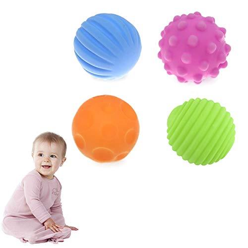 4Pcs / Packung Infant Sinneskugeln Baby-Strukturierter Multi Kugel-weiche Beißring Aktivität Ball Bunte Kind-Noten-Handball-Spielwaren Massage geschmeidiges Bälle für Baby Learning Grasping