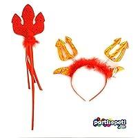 Cadılar Bayramı Halloween Kırmızı Mızraklı Ve Taçlı Şeytan Set 1 Paket 2 Ürün