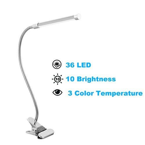 Tischlampe LEDemain 10W LED Augenschutz Einstellbar Leselampe, 3 Farben-Modi und 10 Stufen Voll einstellbare Helligkeit Tischleuchte/Schreibtisch Lampe, mit Klemmfuß und USB-Anschluss mit EU Stecker