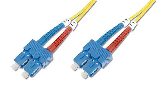 DIGITUS LWL Patch-Kabel OS2 - 1 m SC auf SC Glasfaser-Kabel - LSZH - Duplex Singlemode 09/125µ - 10 GBit/s - Gelb -
