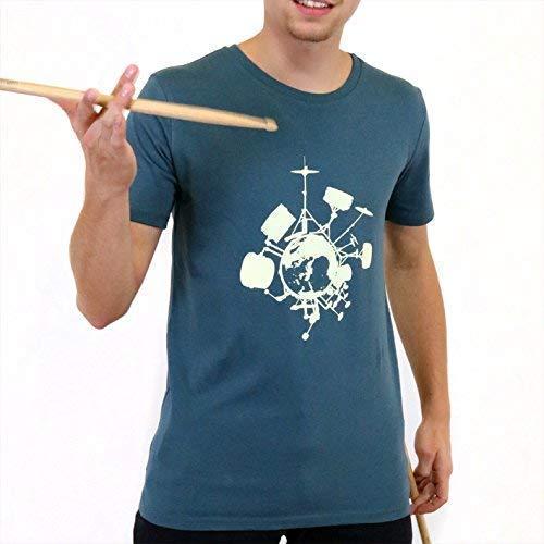 T-Shirt mit Schlagzeug auf einer Weltkugel, Handsiebdruck, petrol, FairWear, Bio-Baumwolle, GOTS, Drums, Trommel, Percussion