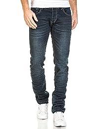 BLZ jeans - Jeans homme bleu foncé délavé froissé