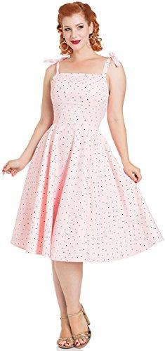 Voodoo Vixen Kleid Hannah Polka Dot Dress 8489 (L, Zartrosa mit schwarzen Dots)