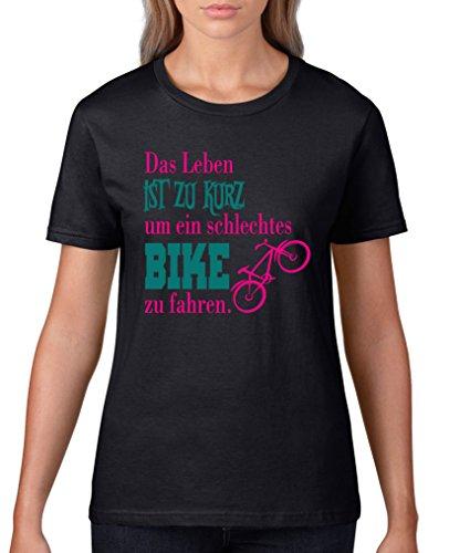 Comedy Shirts - Das Leben ist zu kurz um EIN schlechtes Bike zu Fahren - Damen T-Shirt - Schwarz/Pink-Türkis Gr. XXL