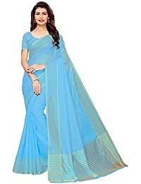 GoSriKi Art Silk with Blouse Piece Saree (Club-Sky IND Blue_Free Size)