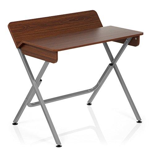 Home-office Sekretär (hjh OFFICE 634701 Schreibtisch BERNEO Holz Walnuss/Silber Computer-Tisch)