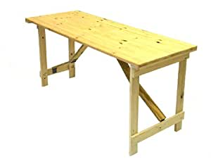 5' x 2' Wooden Trestle Table with wooden folding legs