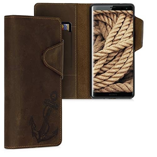 kalibri Sony Xperia XZ3 Hülle - Leder Handyhülle für Sony Xperia XZ3 - Handy Wallet Case Cover - Anker Vintage Design Braun