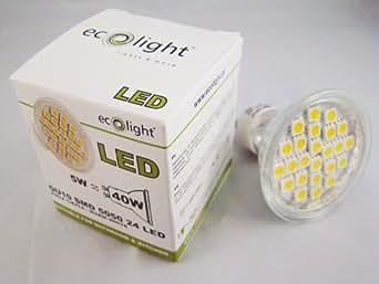 Ecolight 5W GU10 SMD 5050 24 LED Warm White Spot Light Bulb