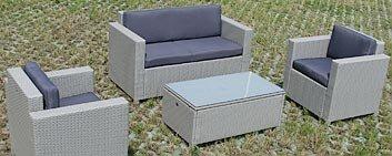 Gartenset Gartenmöbel Lounge Sitzgruppe Cannes silber aus Polyrattan Rattan Gartenausstattung von Jet-Line