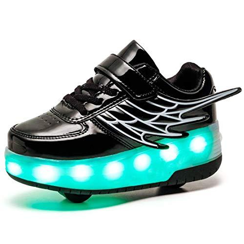 Zosyns Skateboardschuhe Kinder Schuhe mit Rollen Roller Skate Schuhe Skateboard Schuhe Sneakers Turschuhe Laufschuhe Sportschuhe mit Rollen für Mädchen Jungen Rot 35 Skate Sneaker Schuhe