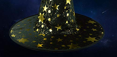 Cinnamou Halloween Hat  Adult Womens Mens Witch Hat Stars Printed Cap Costume Accessory Unisex Hallow Hats  Black