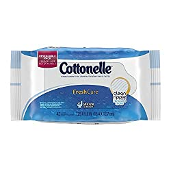 Cottonelle Fresh Care Flushable Cleansing Cloths KBjLEN, 42 Count, Refillable Wipes