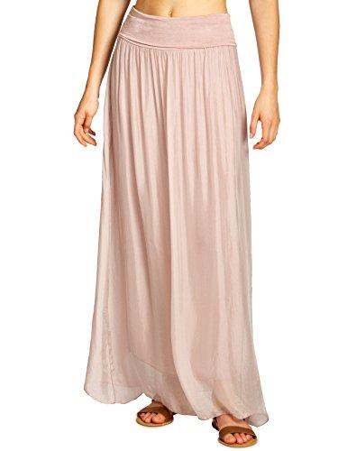 CASPAR RO025 eleganter leichter langer Damen Sommer Seidenrock, Farbe:rosa;Größe:M/L (Seide Kleid Lange)