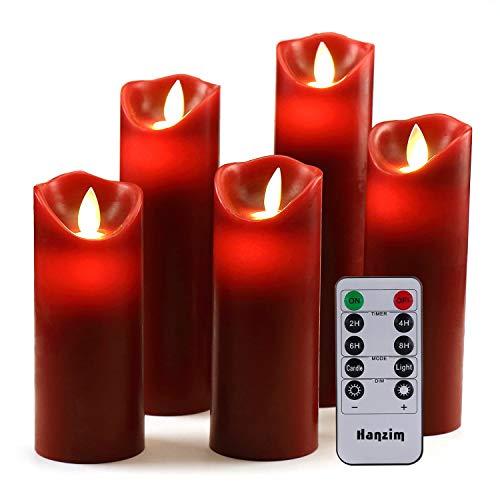 HANZIM LED Kerzen,Flammenlose Kerzen 250 Stunden Dekorations-Kerzen-Säulen im 5er Set.Realistisch flackernde LED-Flammen 10-Tasten Fernbedienung mit 24 Stunden Timer-Funktion (Burgundy)
