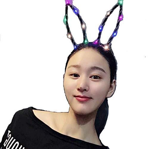 Iglatt® Hasen Kostüm Hase Ohren Haarreife mit LED Beleuchtung