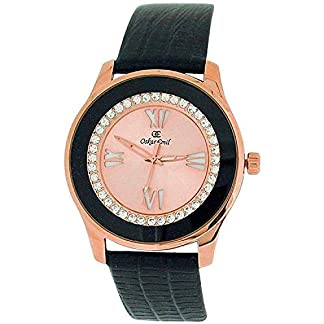 Oskar Emil Ladies Gold Plated Stones Pink Dial Black Genuine Leather Strap Watch