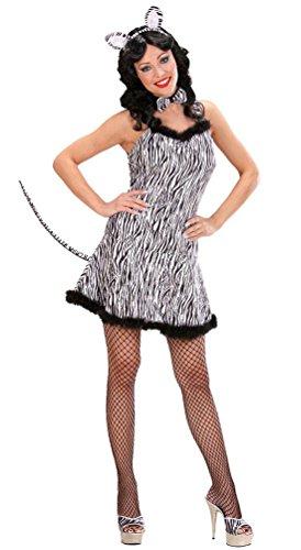 Karneval-Klamotten Zebra Kostüm Damen sexy Zebra Kostüm Damen-Kleid kurz mit Zebra-Ohren Schwanz Tier-Kostüm Karneval Damen-Kostüm Größe 42/44